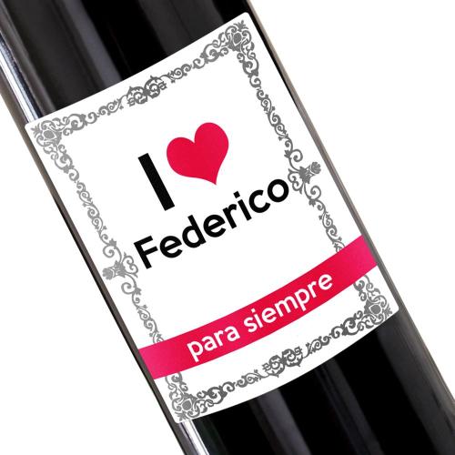 Botella de vino personalizada I Love