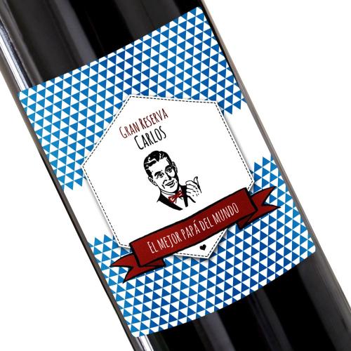 Botella de vino personalizada Sello azul