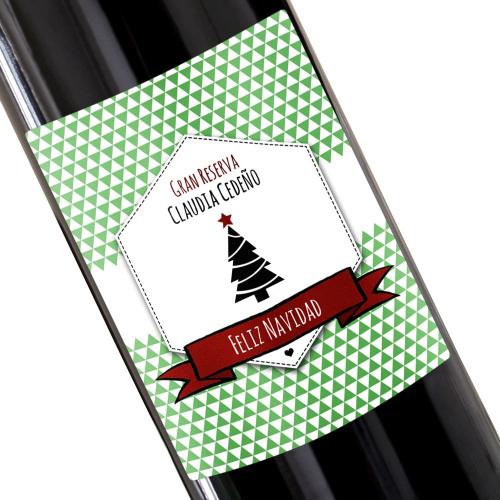 Botella de vino personalizada Sello verde