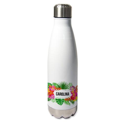 Botella térmica con flores exoticas
