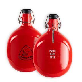 Botella personalizada roja redonda Le Grand Tétras