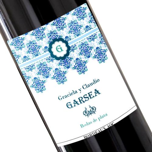 Botella de vino personalizada Rococo azul