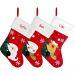 Calcetín navideño de fieltro rojo personalizado