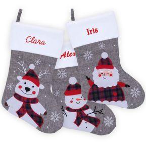 Calcetín de Navidad gris efecto lino personalizado