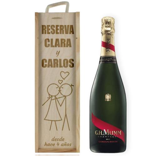 Caja de vino San Valentín personalizada