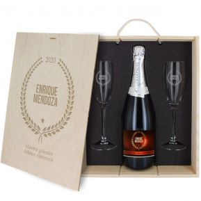 Caja de regalo Award : botella de champán y dos copas