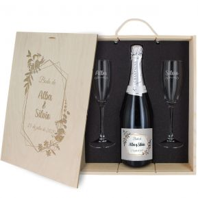 Caja de regalo Boda : botella de champán y dos copas