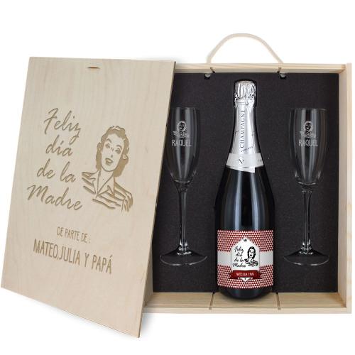 Caja de regalo Día de la Madre : botella de champán y dos copas
