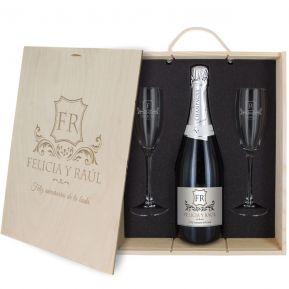 Caja de regalo Monograma : botella de champán y dos copas