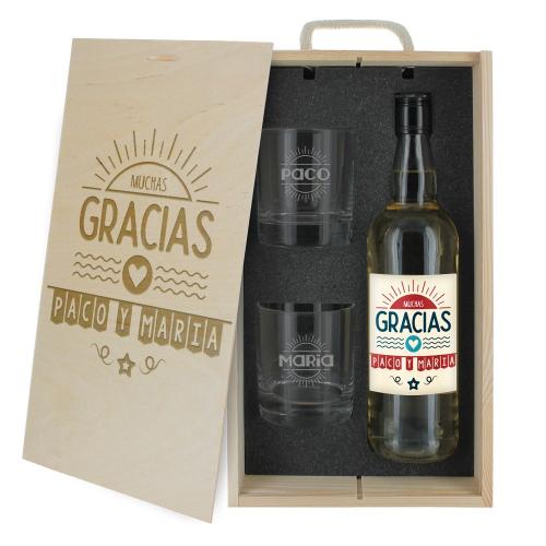 Caja de regalo Gracias - botella de whisky y dos vasos