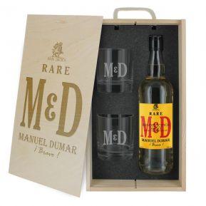 Caja de regalo Iniciales : botella de whisky y dos vasos