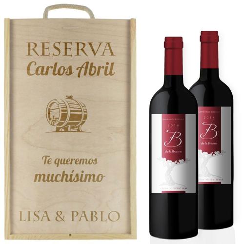 Caja de vino 2 botellas clásica personalizada