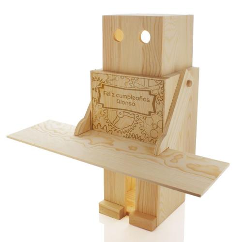 Caja de vino robot grabada