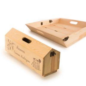 Caja de vino con bandeja pesonalizada