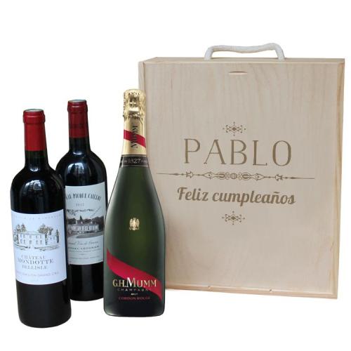 Caja de vino 3 botellas personalizada  con un nombre