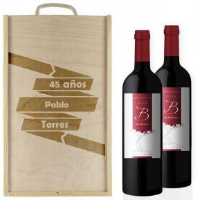 Caja de vino cumpleaños personalizada 2 botellas