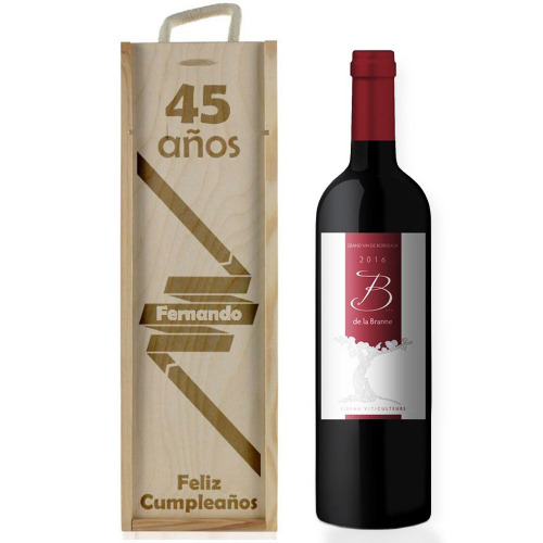 Caja de vino cumpleaños personalizada