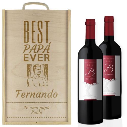 Caja de vino 2 botellas papá personalizada