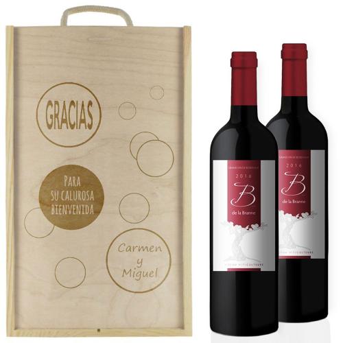 Caja de vino burbujas personalizada 2 botellas