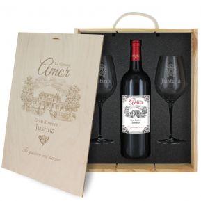 Caja de regalo Amor : botella de vino y dos copas