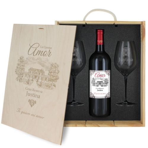 Caja de regalo Amor - Botella de vino y 2 copas personalizadas