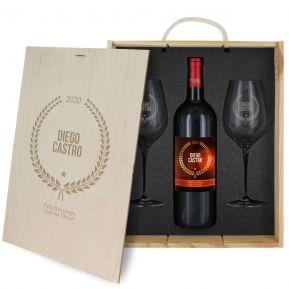 Caja de regalo Award : botella de vino y dos copas