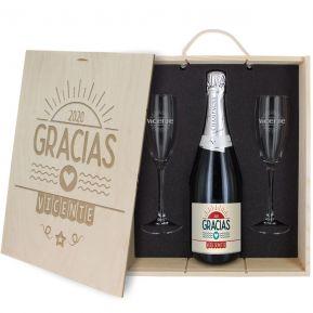 Caja de regalo Gracias : botella de champán y dos copas