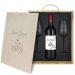 Caja de regalo cumpleaños : botella de vino y dos copas