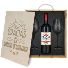 Caja de regalo Gracias : botella de vino y dos copas