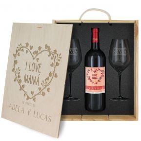 Caja de regalo Mamá : botella de vino y dos copas