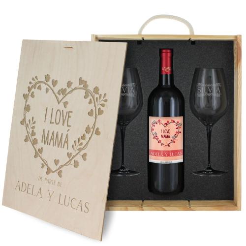 Caja de regalo Mama - Botella de vino y 2 copas personalizadas