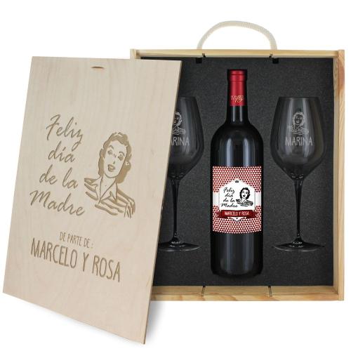 Caja de regalo Día de la madre - Botella de vino y 2 copas personalizadas