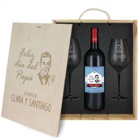 Caja de regalo Día del Padre : botella de vino y dos copas