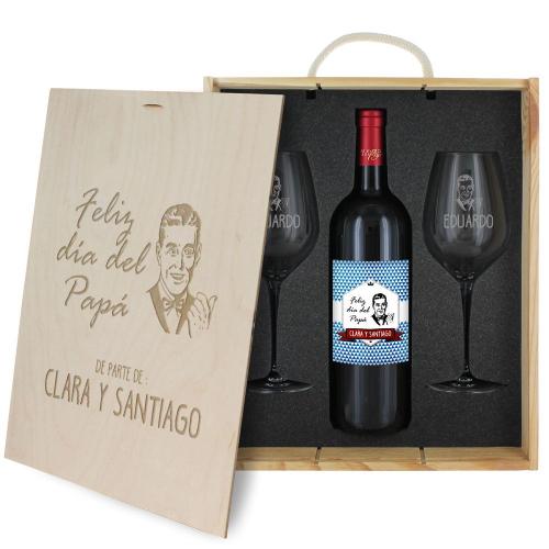 Caja de regalo Día del Padre - Botella de vino y 2 copas personalizadas