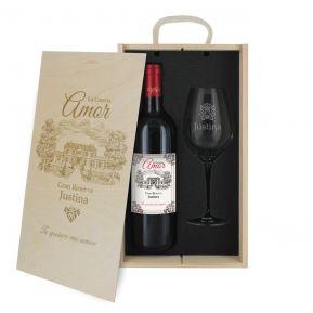Caja de regalo Amor : botella de vino y una copa