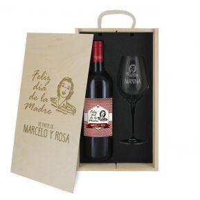 Caja de regalo Día de la Madre : botella de vino y una copa