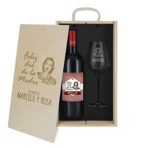 Caja de regalo Día del Padre - Botella de vino y copa personalizada