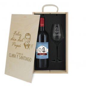 Caja de regalo para el día del padre: botella de vino y una copa