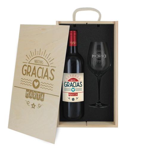 Caja de regalo Gracias - Botella de vino y copa personalizadas