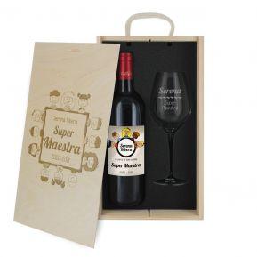 Caja de regalo Gracias Maestra : botella de vino y una copa