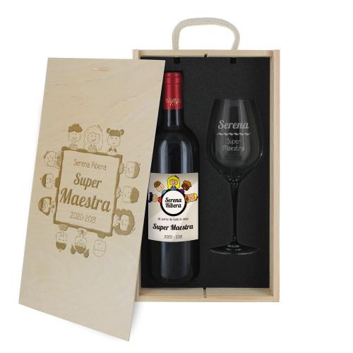 Caja de regalo gracias maestra - Botella de vino y copa personalizadas