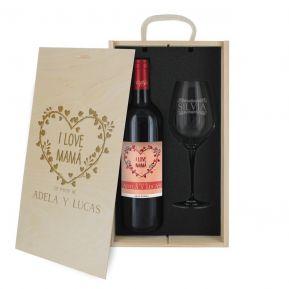 Caja de regalo Mamá : botella de vino y una copa