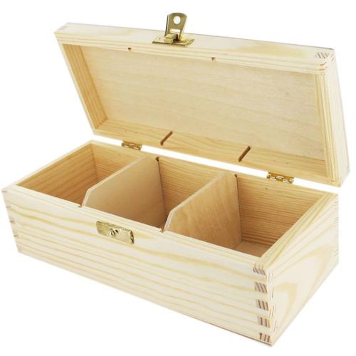 Caja de té 3 compartimientos grabada
