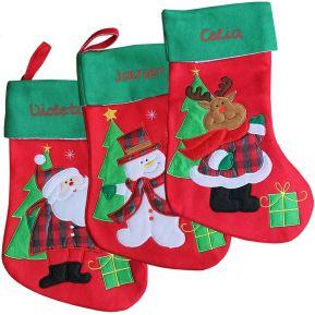 Bota de navidad bordada en fieltro grueso
