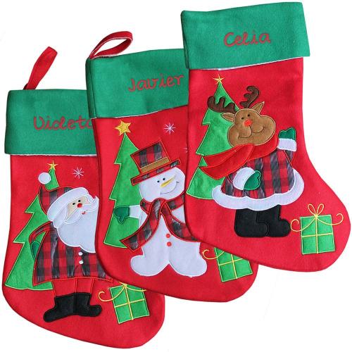 calcetín de navidad bordado en fieltro grueso