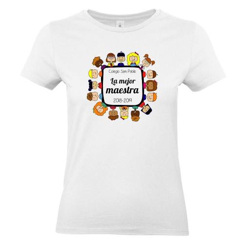 Camiseta mujer gracias maestra blanco