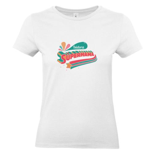 Camiseta mujer personalizada súper mamá blanco