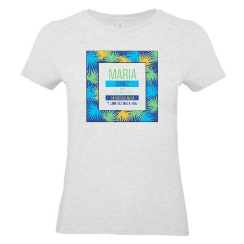 Camiseta mujer personalizada palmeral gris