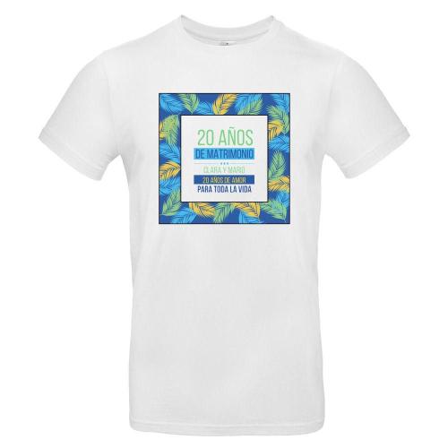 Camiseta hombre personalizada palmeral blanco