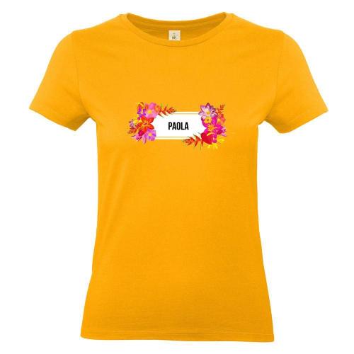 Camiseta mujer con flores exoticas albaricoque